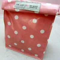 Oilcloth Lunch Bag - Spots - White .. on Luulla