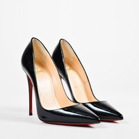 HCXX Christian Louboutin Black Patent Leather Pointed Toe   So Kate   Pumps