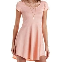 Coral Paisley-Textured Cap Sleeve Skater Dress by Charlotte Russe