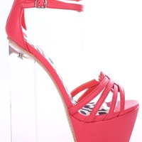 CORAL FAUX LEATHER STRAPPY ANKLE STRAP PLATFORM CLEAR HEELS