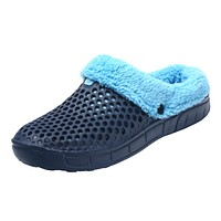 KLYWOO Big Size 45 Winter Warm Slippers Men Indoor Casual Shoes Cotton Pantoffels Casual Croc Clogs With Fur Fleece Lining House