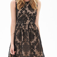 Abstract Embroidered Cocktail Dress