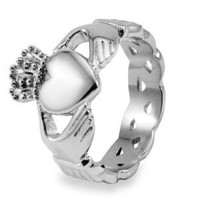 Stainless Steel Claddagh Ring with Celtic Knot Eternity Design (6.0mm) - Sizes 5-13: Jewelry: Amazon.com