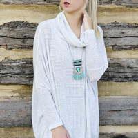 Rolling Waves Heather Gray Cowl Neck Waffle Knit Tunic