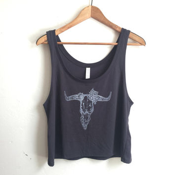Bull in Bloom Slouchy Cropped Tank   Charcoal Dark Grey and white Southwestern Longhorn cow skull Crop Top Boxy Layering Top Festival Tank