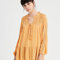 AE Lace Inset Long Sleeve Tunic Blouse, Yellow