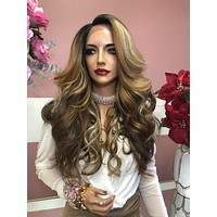 "Blonde Brown Balayage Highlights Lace Front Wig 18""  0219"