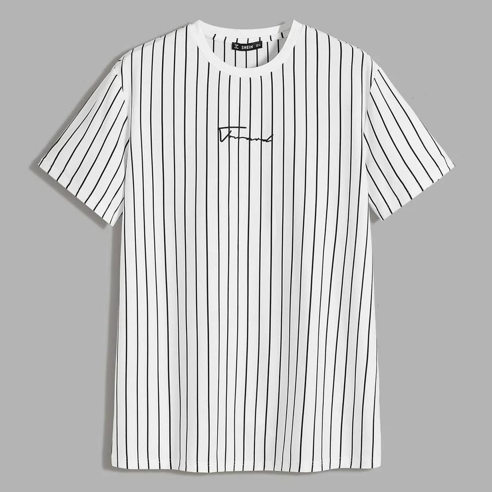 Image of Fashion Casual Men Letter Graphic Striped Tee