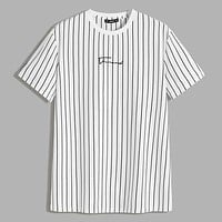 Fashion Casual Men Letter Graphic Striped Tee
