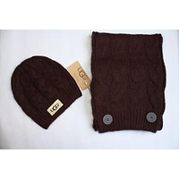 "Tiktoki1 Tiktoki1 ""UGG"" Autumn Winter Popular Women Men Knit Warmer Hat Cap Scarf Two Piece Set Coffee"