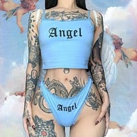 2020 new women's sling print camisole high waist sexy briefs casual suit two-piece suit