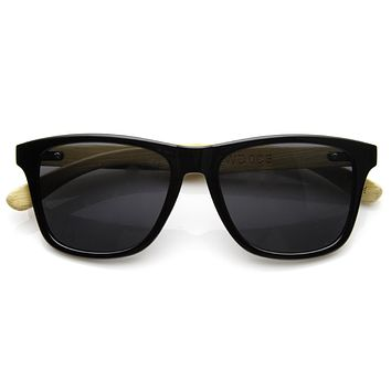 Eco Indie Bamboo Wood Two Tone Horned Rim Sunglasses 9229