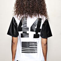 """BARACK OBAMA 44th President T-shirt white """"F"""" 