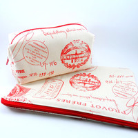YOU CHOOSE Cream and Red French Makeup Bag, Gadget Case, Under 15, Pencil Case, Medium, Zippered, Cosmetic Case, For Her