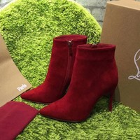 DCCK2 Christian Louboutin CL Top Suede Ankle Boot Red-1