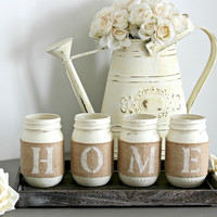 Farmhouse Home Decorations, Rustic Table Decor,Wooden Tray With Mason Jars