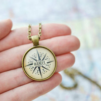 Compass Necklace, Wanderlust Necklace, Gypsy Jewelry