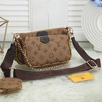 LV Louis Vuitton Hot Sale Solid Color Printed Classic Three-piece Set Fashion Ladies One Shoulder Messenger Bag Chain Bag Coin Purse