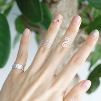 925 Sterling Silver Swirl Knuckle ring and Toe ring- Adjustable Ring