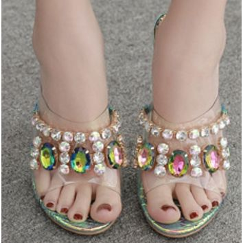 Hot style hot selling PVC with color gem rough crystal heel sandals