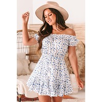 Spring Melody Floral Off The Shoulder Ruffle Dress (White/Blue)