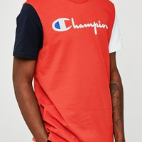 Champion Reverse Weave Script T-Shirt Red