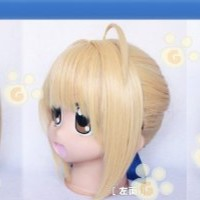 Style Short Fate/zero Saber Blonde Party Costume Cosplay Hair Wig with Bun