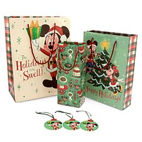 disney parks mickey and minnie retro christmas holiday bags gift set new sealed
