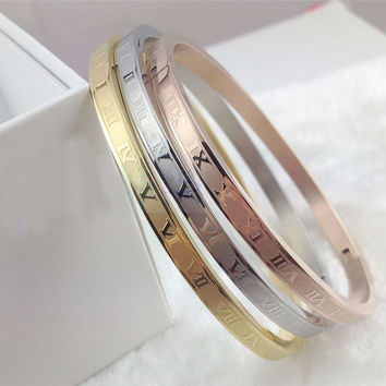 3pcs Ring or Bangle Gold Carving Roman Numerals Men and Women Stainless Steel Lover Bangle Bracelet Wedding Couple Jewelry Set