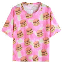 Multicolor Hamburger Print 3/4 Sleeve Loose T-shirt - Choies.com