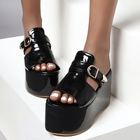 New Hot Sale High Platform Slides High Wedges Slippers Women Daily Sweet Thick Bottom Shoes Woman
