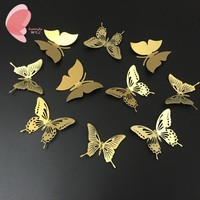 Free Shipping 10Pcs/lot Stainless Steel Gold Butterfly Wall Sticker Three-dimensional Mirror Wedding Home Wall Decoration