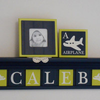 "Airplane Nursery Shelf, Airplane Decor Art, Personalized 24"" Navy Blue Shelf with 6 Lime Green and Navy Painted CALEB with Airplane Plaques"