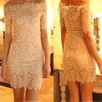 Women Off Shoulder Short Sleeve Strapless Lace Mini Dress Cocktail Prom (M, white)