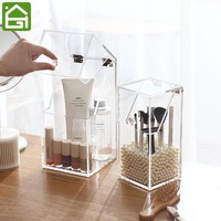 Clear Acrylic Makeup Organizer Box Dustproof Cosmetic Makeup Brush Pencil Holder White Pink Pearls for Decor Brush Holder