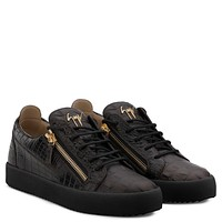 Giuseppe Zanotti Gz Frankie Brown Crocodile-embossed Leather Sneaker
