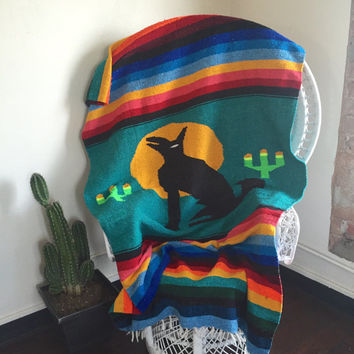 Woven Southwestern Mexican Camp Blanket   Serape Wool Colorful Stripes with Cacti Coyote Bedspread Large Blanket Throw Howling Wolf Cactus