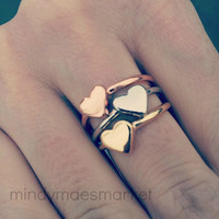 Tiny Stackable Heart Ring  3 color choices by mindymaesmarket