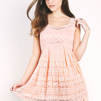Lace Overlay Flare Dress