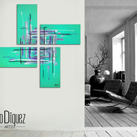 "Original abstract painting. 50x50"" 4 piece canvas art. Large painting. Aqua painting with purple, black, white. Modern wall art."