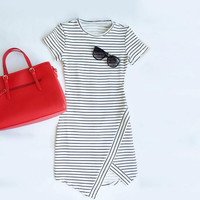 Casual round neck striped bodycon dress