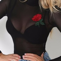 Long Sleeve Turtleneck Rose Embroidery Patches