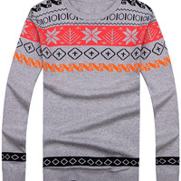 Geo-Print Pullover Sweater