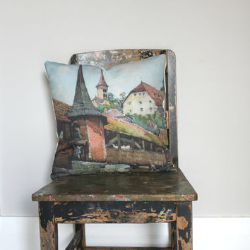 Vintage style watercolor print Pillow Cover, water colour Cushion, terracotta, village scene duck egg blue, green, rustic throw pillow,