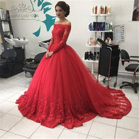 Wonderful Red Long Formal Prom Dresses 2016 Chic Boat Neckline Long Sleeve Beaded Lace Puffy Ball Gown Prom Dress Fast Shipping