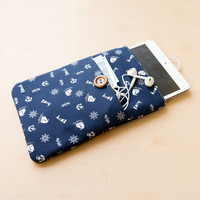 ANCHOR IPAD MINI Sleeve iPad Case iPad Mini Case iPad Mini Cover Fabric Sleeve iPad Sleeve Accessories Navy Blue Color