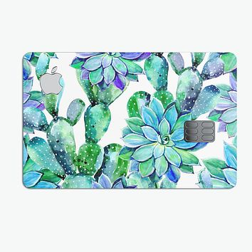 Watercolor Cactus Succulent Bloom V12 - Premium Protective Decal Skin-Kit for the Apple Credit Card