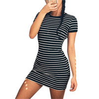 Women Party All-match Sundress Short Sleeve O-neck Striped Casual Sheath Mini Dress Summer Sexy Beach Package Hip Vestidos LX313