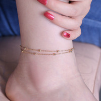 Fashion Simple Style Metal Copper Beads Charms Anklets Double Chain Gold Plated