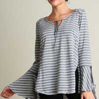 Umgee striped wide neck top with bell sleeves and hi-low hem